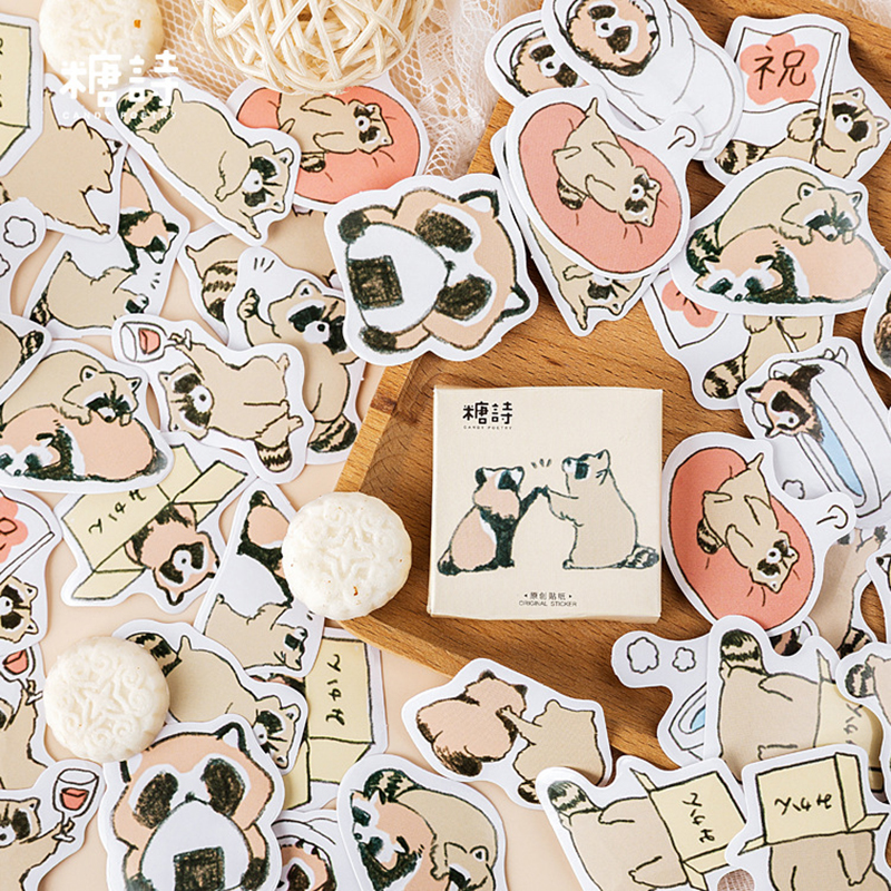 45Pcs/box Kawaii Cartoon Raccoon Sticker Scrapbooking Creative DIY Bullet Journal Decorative Adhesive Label Stationery Supplies