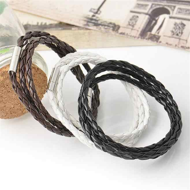 Home&Nest New Style! 2019 Men Leather Bracelets Charm Bangle Handmade Round Rope Trendy For Women Friend Gift Wholesale H0211