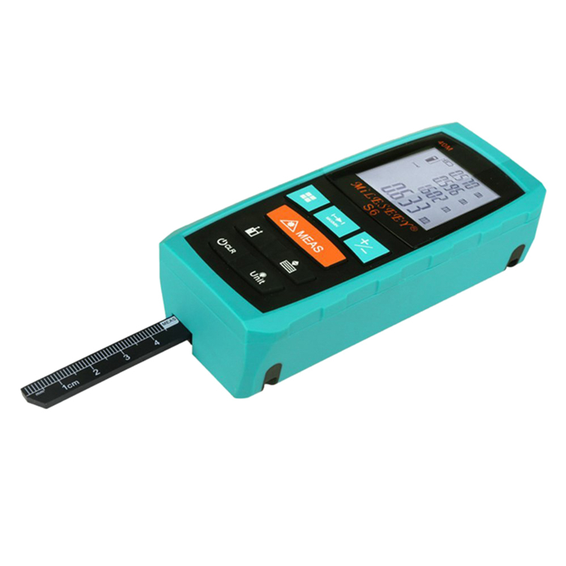 MILESEEY S6 Handheld Laser Distance Measurer Range Finder Meter Measuring Device Tool with Extended Ruler, Blue 100M free shipping kapro 810 clamp device laser infrared horizontal marking ruler