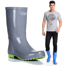 Solid Galoshes Rain Boots For Men Rubber Waterproof 2017 Fashion High Rainboots Gummistiefel Fishing Water Shoes Botas Hombre