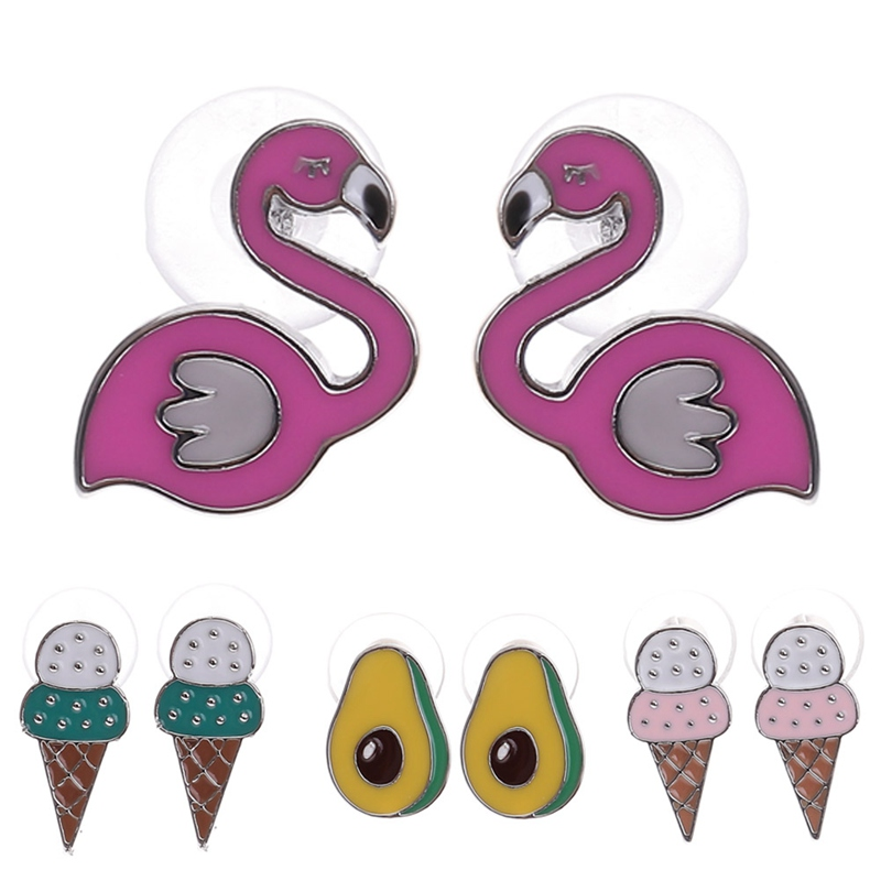 2018 New Women Bird Fruit Avocado Earrings Fashion Alloy Cute Icecream Stud Earrings For Women Girls Weddings Party Gift Jewelry