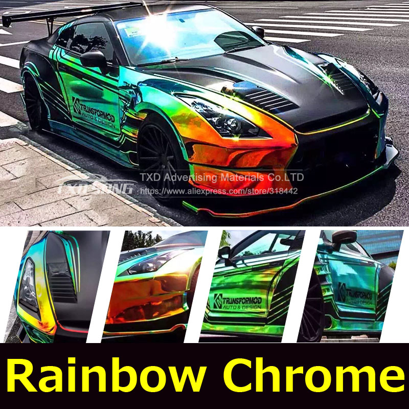 Premium New arrival rainbow holographic chrome film Glossy Mirror Rainbow Holographic Film Rainbow chrome vinyl car wrap-in Car Stickers from Automobiles & Motorcycles