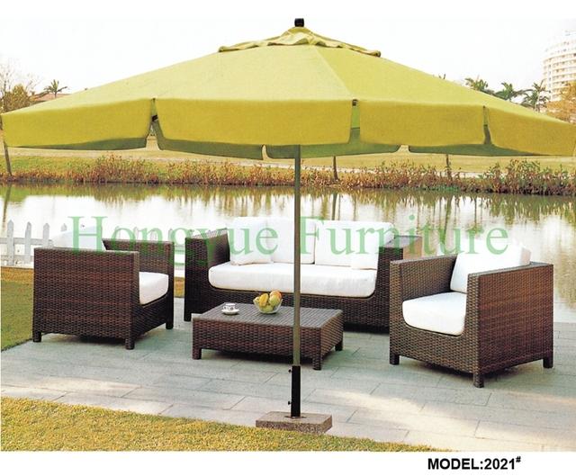 Marrón proveedor muebles de ratán sofá de jardín conjunto con cojines y almohadas