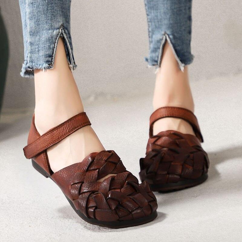 2019 ฤดูใบไม้ผลิใหม่มาถึงผู้หญิงหนังแบนรองเท้าข้อเท้า Handmade ทอรองเท้านิ้วเท้า Vintage Ladies Flats-ใน รองเท้าส้นเตี้ยสตรี จาก รองเท้า บน   2