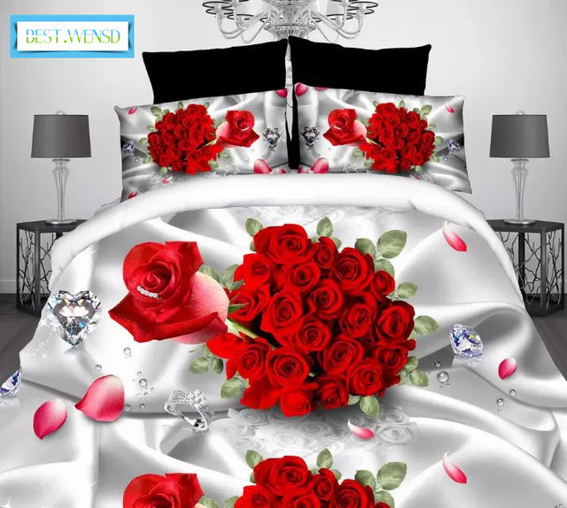 WENSD Luxury Wedding Decoration 3D Red Snail Rose Bedding Set King Bed  Sheets