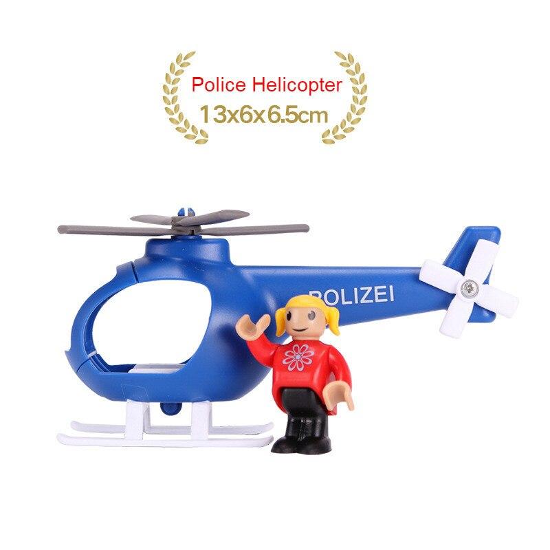 EDWONE деревянный магнитный Поезд Самолет деревянная железная дорога вертолет автомобиль грузовик аксессуары игрушка для детей подходит Дерево Biro треки подарки - Цвет: NO 25Police Helicopt