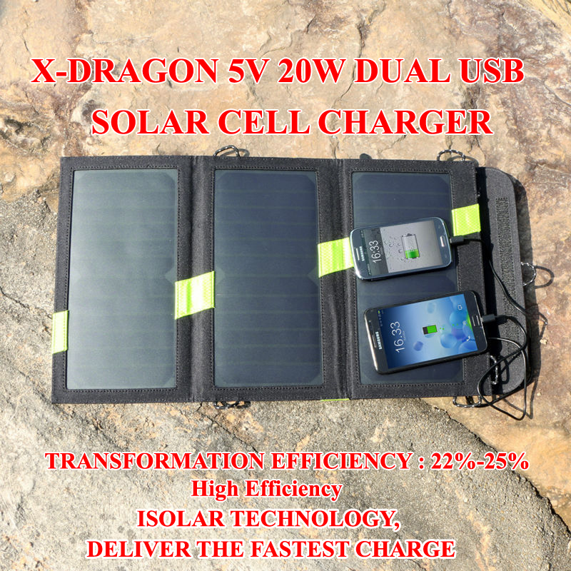 ФОТО X-Dragon 20W5V Dual USB Solar Cell Charger solar battery panel powerbank cellphone for iPhone/iPad tablet outdoor Freeshipping