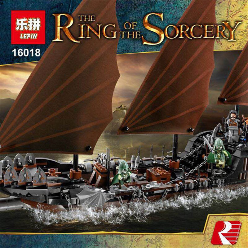 New Genuine Lepin 16018 The lord of rings Series 756pcs The Ghost Pirate Ship Set Building Block Brick Toys With 79008 lepin movie series ghost pirate ship 16018 756pcs building block for children toys 79008 compatible legoe pirate ship