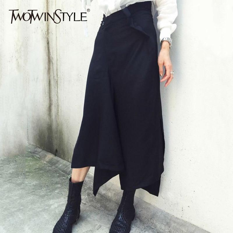 TWOTWINSTYLE Patchwork Pant Female High Waist Zipper Irregular Calf Length Trousers Women 2019 Spring Fashion Big