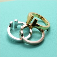 Hot Brand T Square Ring Women In 100% Pure Real Solid Silver 925 White / Rose / Yellow Gold Colo Top Quality Jewelry Gift