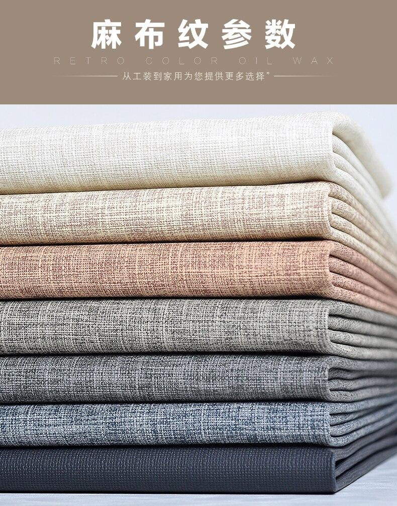 Tecido de couro de linho macio saco fundo da parede decoração pano sofá mobiliário assento do plutônio couro artificial