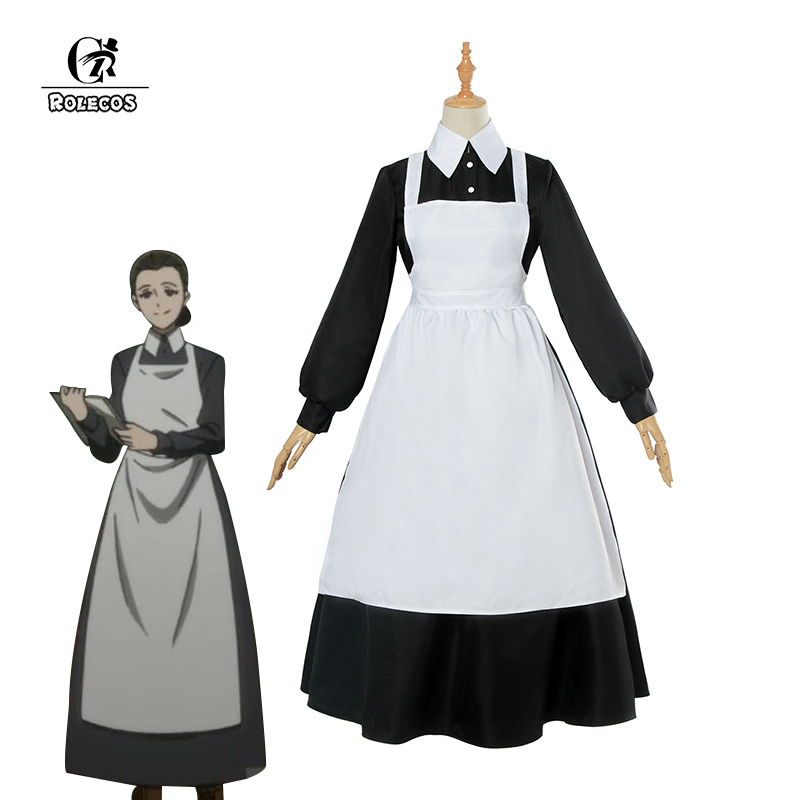 ROLECOS Anime The Promised Neverland Isabella Cosplay Costume Yakusoku no Neverland Cosplay Costume Maid Apron Dress for Women