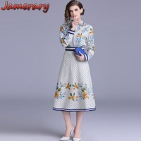 Runway Women Two Pieces Set Vintage Blouses Tops Floral Plaid Shirts Long Sleeve Office Laides Long Skirts Grey Vestidos Jurken