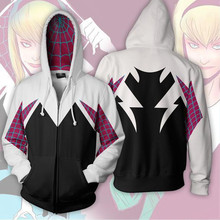 Spider Gwen Spiderman Cosplay Costume 3D Zipper Jacket Coat Outfit Clothing Hoodies Sweatshirt Men Women