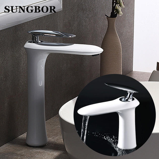 Modern Bathroom Basin Faucet White Black Paint Baked Chrome Finish Single Handle Hot Cold Water Vessel Sink Tap Faucets Al 7273b
