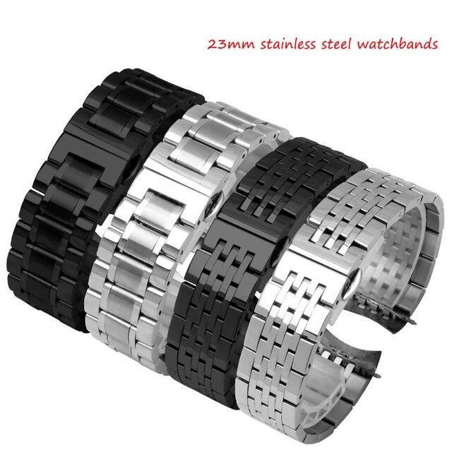 23mm edelstahl schwarz metall armband ersatz stahlband männer armband für luminox