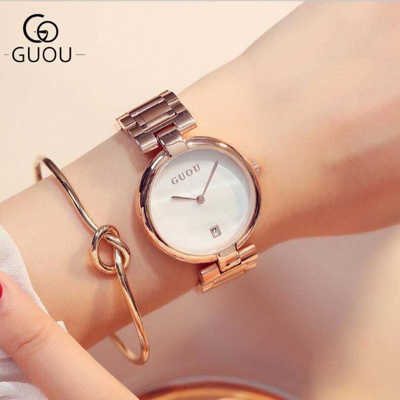 GUOU Watches Classic Vogue Wrist Watches Women Auto Date Ladies Watch Rose Gold Women's Clock bayan kol saati quartz watch saat cresfimix women casual pu leather slip on flat shoes lady casual white flats female soft and comfortable loafers zapatos