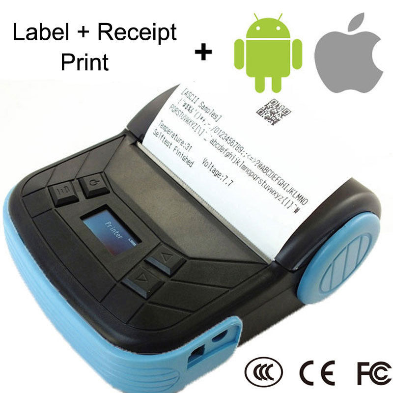 Portable Bluetooth Wireless 80mm Label Barcode Thermal POS Receipt Printer w/Cover for IOS Android Mobile mht l58a bluetooth marketing device wireless wired pos thermal printer android tablet with rs232
