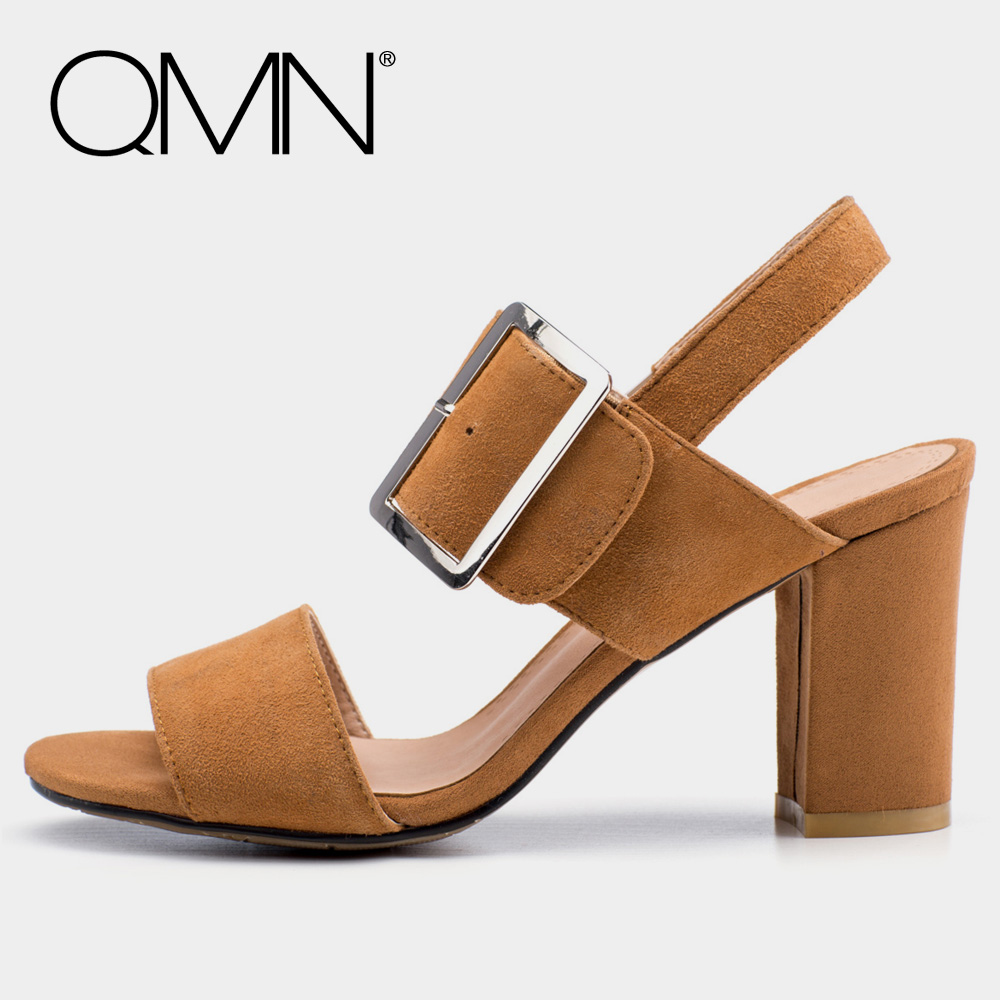 QMN women genuine leather sandals Women Open Toe Block Heel Sandals Slingbacks Shoes Woman Natural Suede Sandals 34-43 qmn women crystal embellished natural suede brogue shoes women square toe platform oxfords shoes woman genuine leather flats