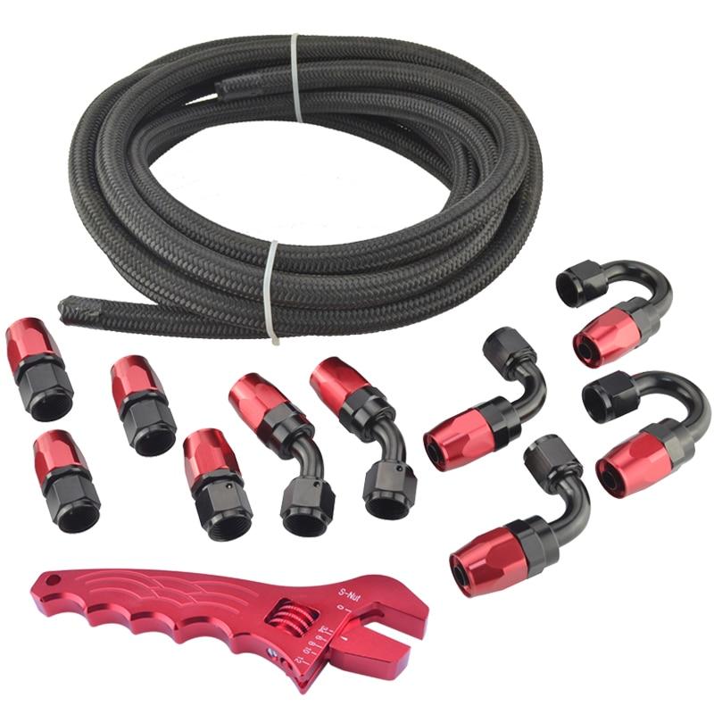 AN4 NYLON et acier inoxydable tressé tuyau 5 mètres + raccords adaptateur d'extrémité KIT huile/carburant noir tuyau avec clé|stainless steel braided hose|steel braided hose|braided hose -