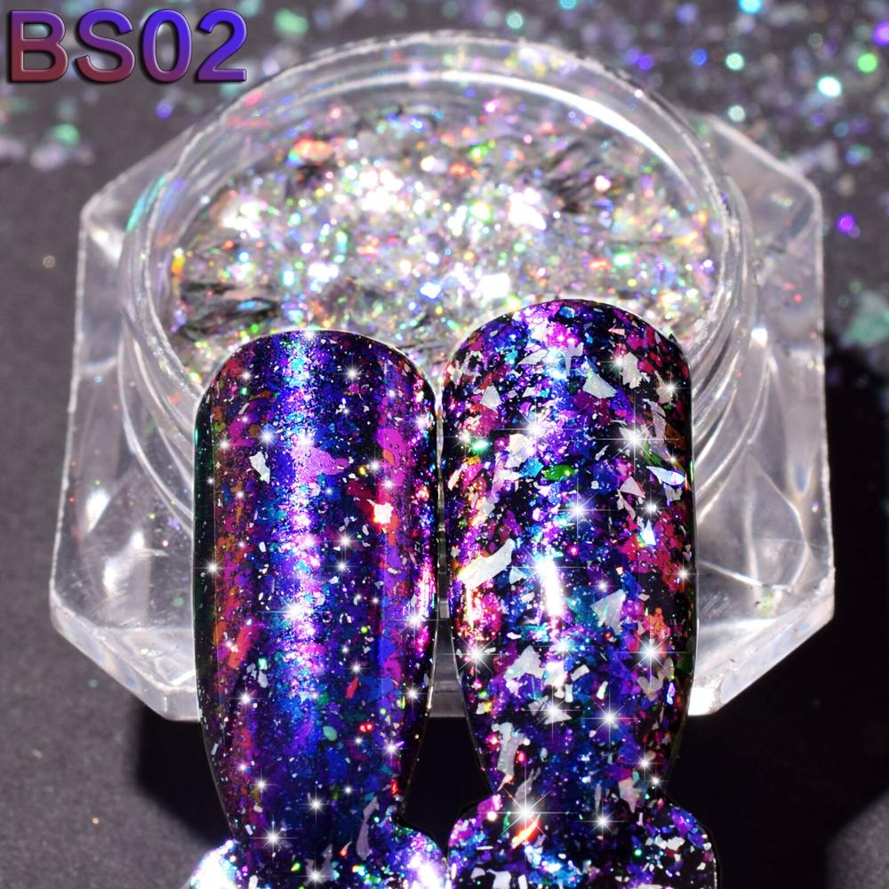 Image 2 - 1 bottle 0.2g Aurora Chameleon Nail Sequins Paillette DIY Thin Dazzling Mirror Effect Manicure Tools Nail Art Glitter TRBSZ02-in Nail Glitter from Beauty & Health