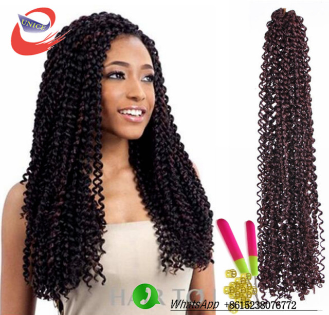 Pre Looped Freetress Hair Synthetic Crochet Braids Water Wave Latch Hook Curly Weaves