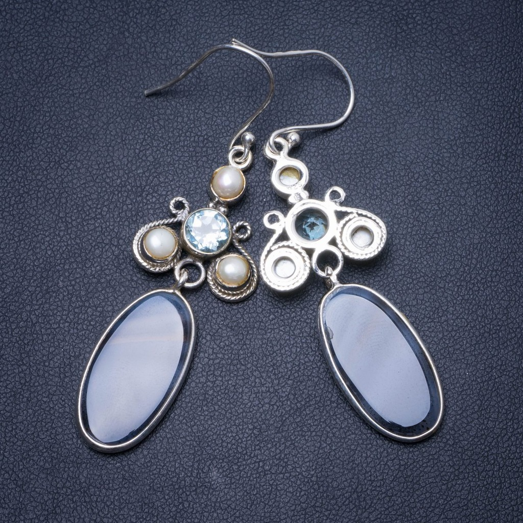 Natural Botswana Agate,River Pearl and Blue Topaz Handmade Unique 925 Sterling Silver Earrings 2.5 Y0577Natural Botswana Agate,River Pearl and Blue Topaz Handmade Unique 925 Sterling Silver Earrings 2.5 Y0577