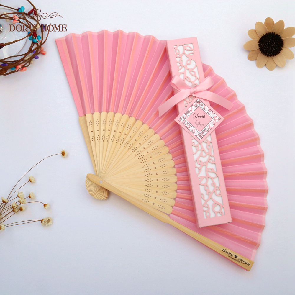 100PCS Satin Silk folding Hand Held Folding Bamboo Fans With Names for Summer Wedding Favor