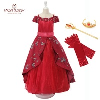 MUABABY Girls Deluxe Elena Dress Summer Sleeveless Elena Of Avalor Princess Birthday Party Costume Girls Fantasy
