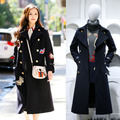 Fashion Winter Wool Coat Women Overcoat 2016 New Blue  Badge Turn-down Collar Double Breasted Coats Military Style Woolen Coat