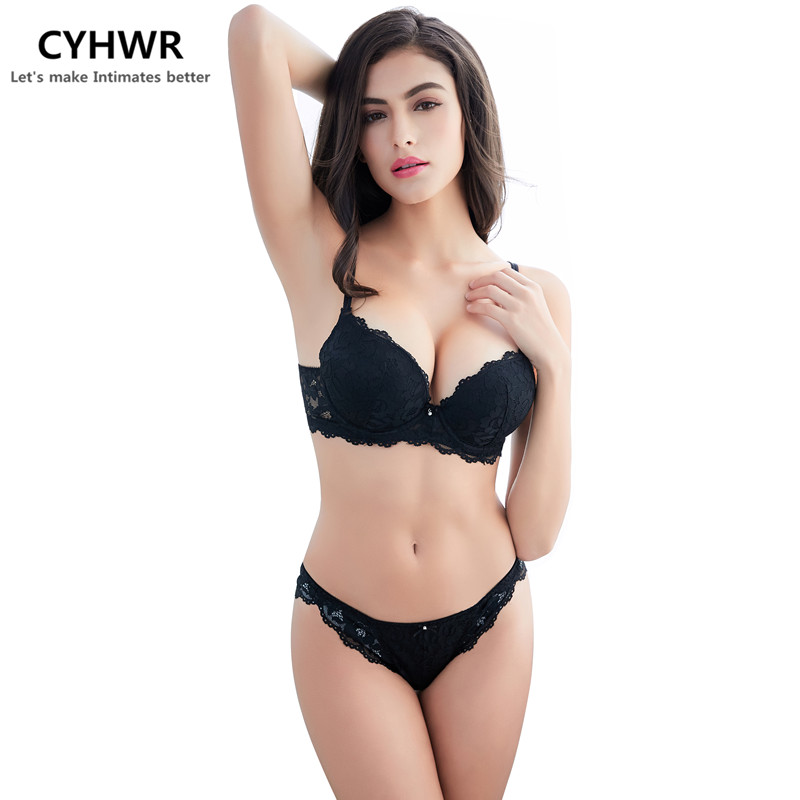CYHWR sexy lace Inner cushion woman fashion 3/4 cup   bra   and   brief   underwear   bra     set