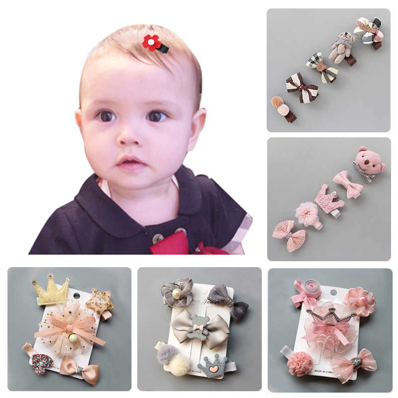 5Pcs Baby Hair Clips Cute Baby Girl Bows Crown Hair Clips Kids Child Baby Hairpins Barrettes Haarspeldjes Baby Hair Accessories
