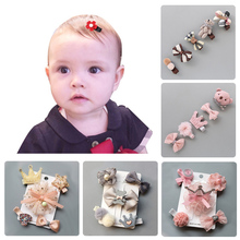 5Pcs Baby Hair Clips Cute Baby Girl Bows Crown Hair Clips Kids Child Baby Hairpins Barrettes Haarspeldjes Baby Hair Accessories cheap FAITOLAGI CN(Origin) Spandex Baby Girls lace cloth Print QU133z baby girl accessories baby girl hair clips accessories for baby girl