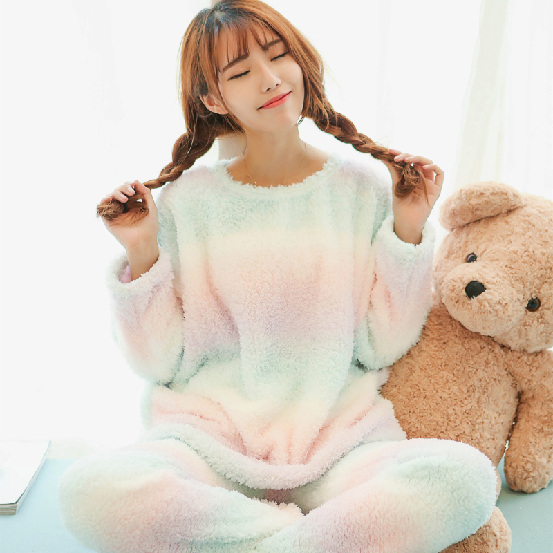 Princess sweet lolita pajamas Autumn and winter Japanese sweet ice cream color with thick pajamas SQ11