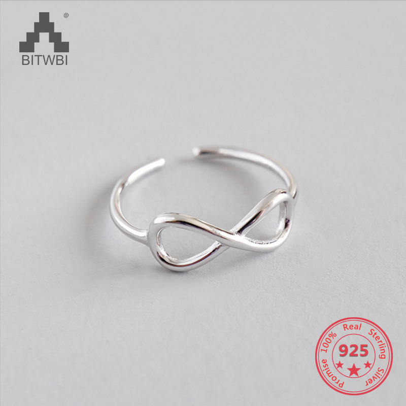 925 Sterling Silver Infinity Ring Eternity Open Ring Charms Best Friend Gift Endless Love Symbol Fashion Rings For Women jewelry image