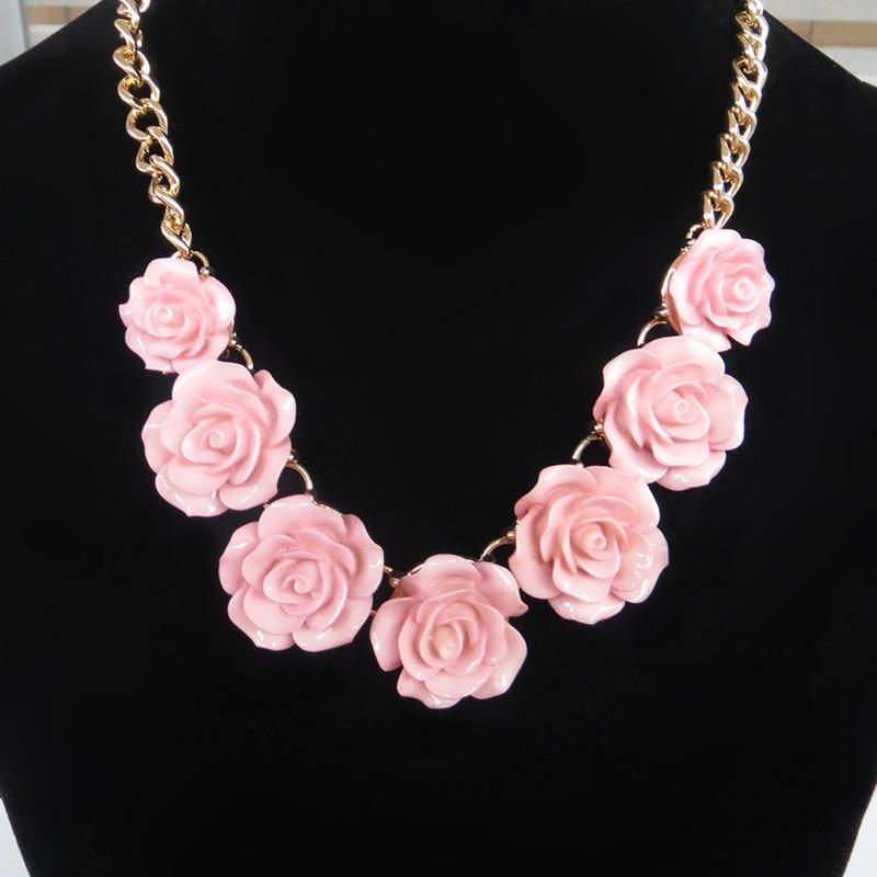 3c9a8edc1474 2016 Joyería De Moda Resina Rosa Collar de Flores de Gardenia Rubor Negro y  Rosa 4 Colores Para Las Mujeres Al Por Mayor   n012