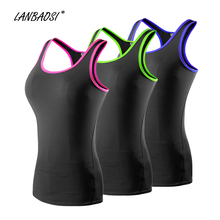 LANBAOSI Compression Tank Tops Baselayer Women Ladies Racerback Sleeveless Skinny Cami Vest for Fitness Workout Yoga Running