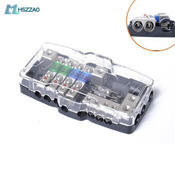 다기능 led 자동차 오디오 스테레오 미니 anl 퓨즈 박스 4 웨이 퓨즈 블록 30a 60a 80amp 및 배터리 배포 0/4ga