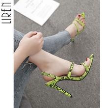 купить Liren Snake Leather Women Sandals Stiletto Thin High Heels Lady Pumps Sandals Shoes Back Strap Slides Open Pointed Toe Shoes дешево