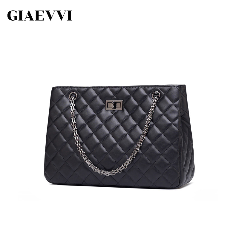 GIAEVVI Luxury Designer Women Handbags Split Leather Tote Bag Chain Shoulder Bags Crossbody for Lady Classic Lozenge Pattern 2017 fashion all match retro split leather women bag top grade small shoulder bags multilayer mini chain women messenger bags