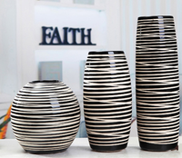 Modern Style Simple Contracted Black and White Ceramic Vases Home Adornment Vase Interior Furnishing Articles of Handicraft
