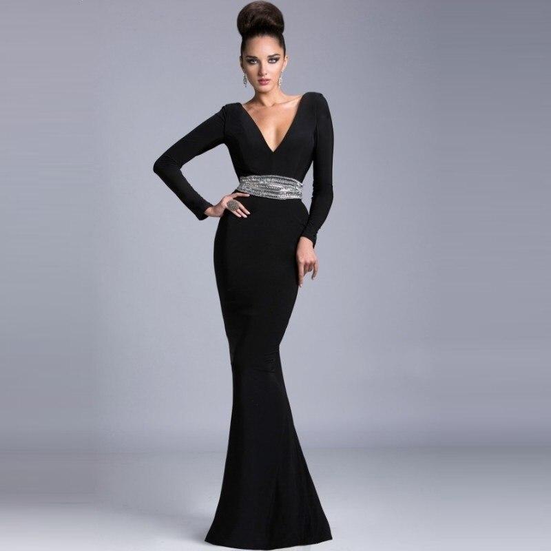 2015 Sexy cuello en V profundo negro madre De la novia vestidos con ...