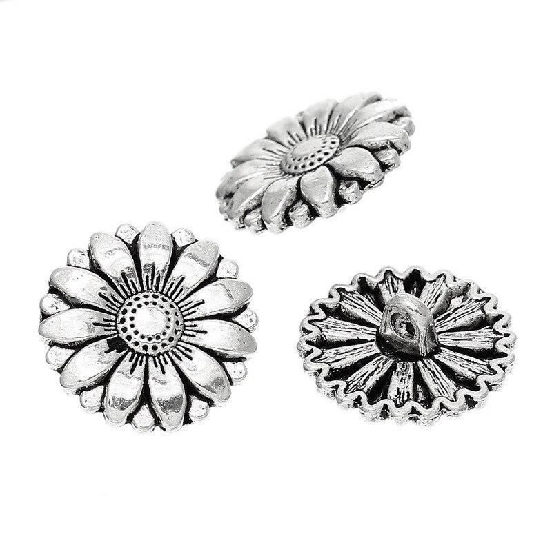 Envío gratis 30 unids moda girasol botones DIY artesanía de Metal de ...