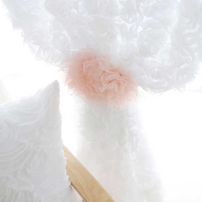 Простая Современная трехмерная Роза вышитая Тюль пряжа маленькая свежая однотонная белая розовая Свадебная спальня Марля WP148D