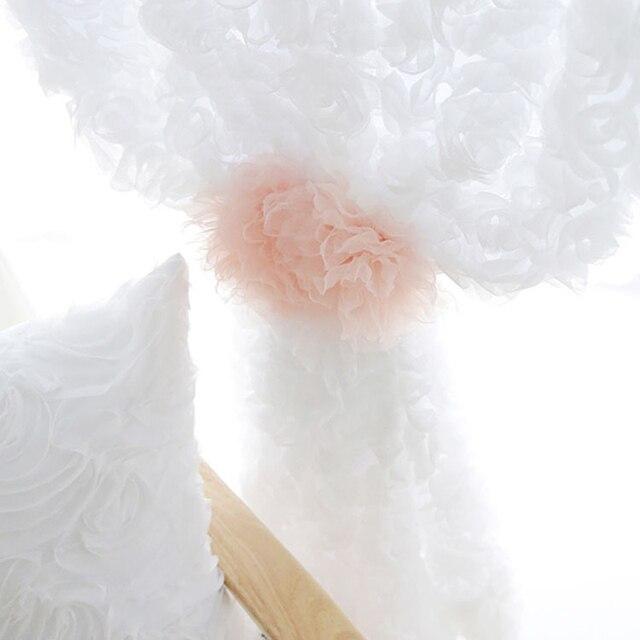 Semplice e Moderno Tridimensionale Rosa Ricamato Tende Netto Lane e Filati Piccolo Fresco Solido Bianco Rosa di Nozze Camera Da Letto Garza WP148D