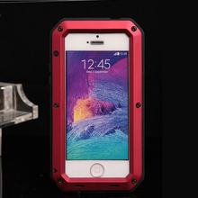 2017 Hot 6 Color Weather/Dirt/Shock proof Metal Alloy gorilla glass FingerPrint  mobile phone bags & case for iphone 5 5s SE