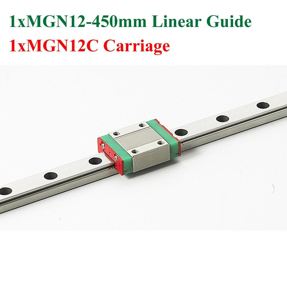 все цены на New MGN12 12mm Linear Rail Slide Guide MGN12 Length 450mm Rail With MGN12C Block Cnc Parts онлайн