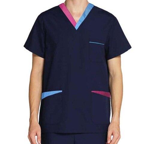 Bargain [TOP] Men's Fashion Short Sleeve Scrubs Tops V Neck  Contrasting Color Design Nursing Uniforms — stackexchange