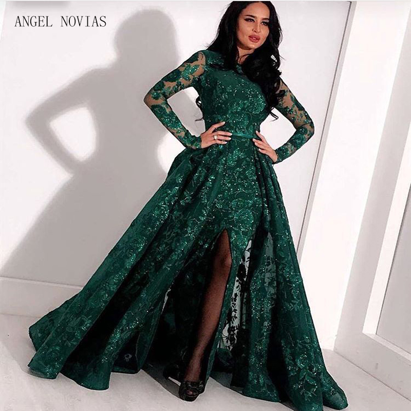 Long Sleeves Green Lace Mermaid High Neck Arabic   Evening     Dress   2018 kaftan Dubai Formal   Evening   Gowns with Detachable Skirt