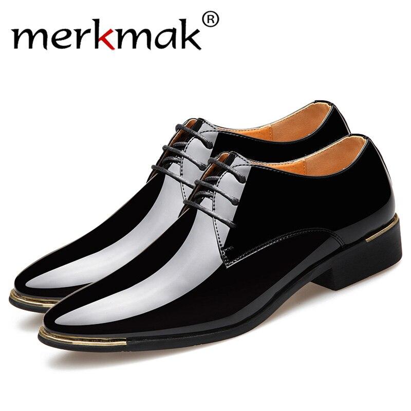 Merkmak 2019 Recém masculina Qualidade do Couro Envernizado Sapatos de Casamento Branco Sapatos Tamanho 38-48 Homem de Couro Preto Macio sapatas de vestido